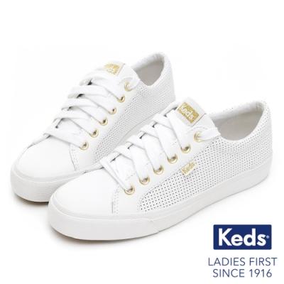 Keds JUMP KICK 時髦金屬釦沖孔皮革休閒鞋-白
