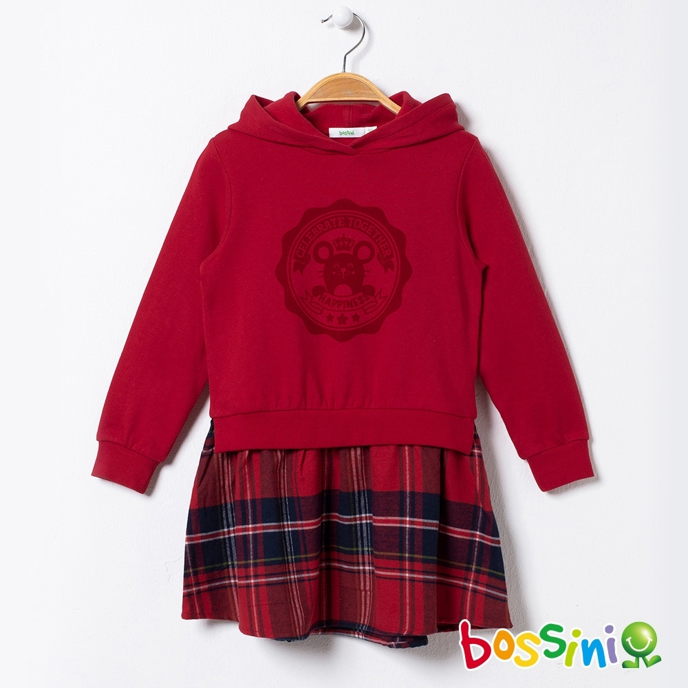 bossini女童-假兩件厚棉洋裝(內刷毛)暗紅