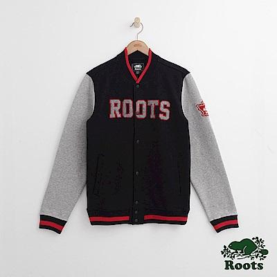 Roots 男裝-周年系列 左臂楓葉海狸棒球外套-黑