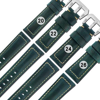 Watchband / 各品牌通用經典復刻百搭款厚實柔軟真皮錶帶-深藍綠色