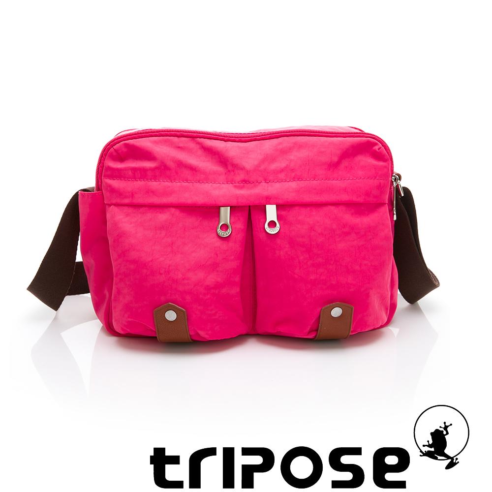 tripose MOVE系列多格層機能斜背包 桃紅