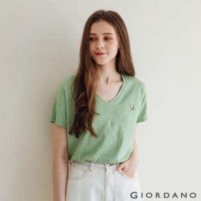 GIORDANO  女裝V領簡約T恤 - 78 青綠