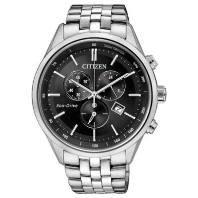 CITIZEN 滿足人生光動能三環日期腕錶(銀黑)-AT2140-55E-42mm