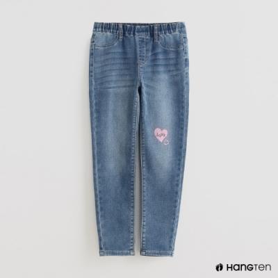 Hang Ten - 童裝 - 腰部鬆緊印花造型牛仔長褲 - 藍