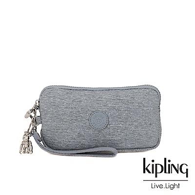Kipling 極簡風淺灰丹寧手拿包-LOWIE