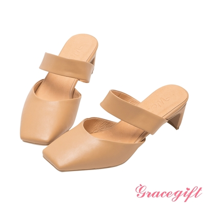 Grace gift X唐葳-聯名方頭寬帶後空扁跟鞋 深杏
