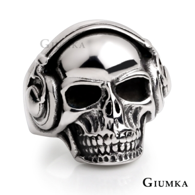 GIUMKA搖滾男孩鋼戒個性潮骷髏造型銀色刷黑食指戒