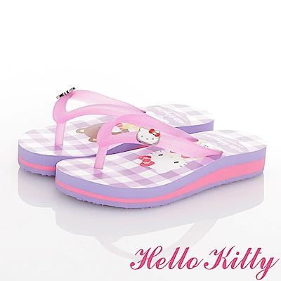 HelloKitty 好朋友系列 可愛輕盈舒適減壓夾腳拖鞋童鞋-紫