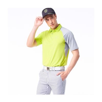 【Jack Nicklaus】金熊GOLF男款剪接彈性吸濕排汗POLO衫-綠色