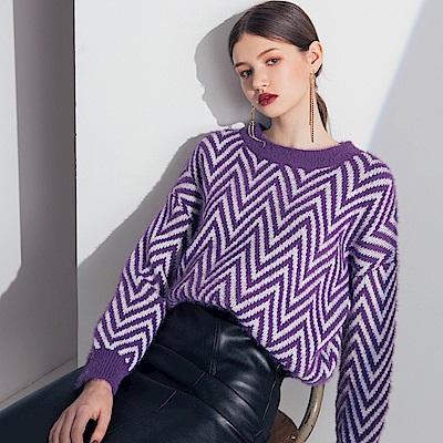 AIR SPACE LADY 寬鬆人字紋毛海針織毛衣(紫)