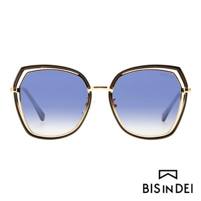 BIS IN DEI 金屬多角形鏤空框太陽眼鏡-黑
