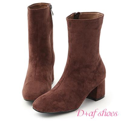 D+AF 極簡魅力.素面絨料美腿中跟襪靴*咖