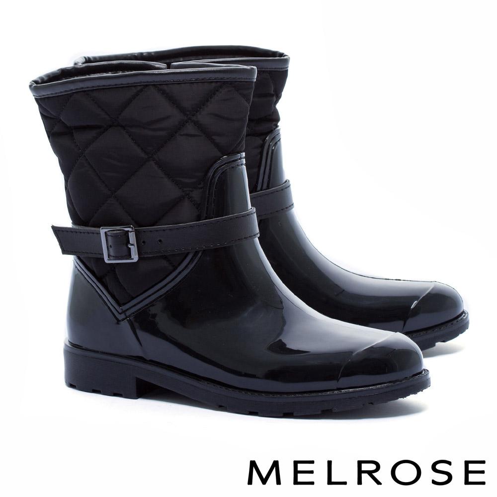 雨靴 MELROSE 時尚異材質菱格造型拼接環繞繫帶雨靴-黑