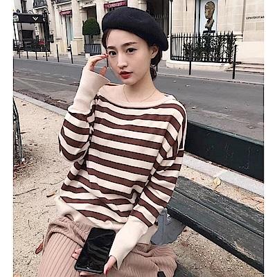 La Belleza圓領雙色橫條袖開叉包心紗針織毛衣