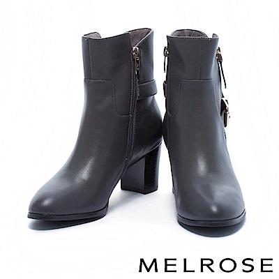 短靴 MELROS 率性時尚金釦後繫帶牛皮粗高跟短靴-灰