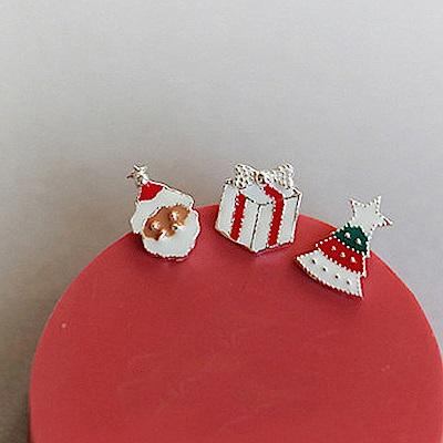 梨花HaNA 韓國S925銀原創純銀聖誕系列迷你耳環