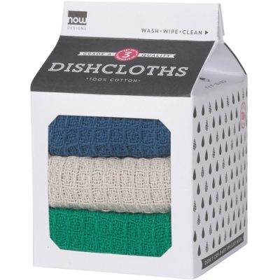 《NOW》棉質洗碗抹布3入(藍灰綠)
