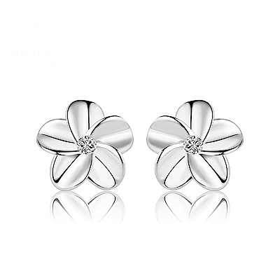 米蘭精品 925純銀耳環-五瓣花鑲鑽耳環