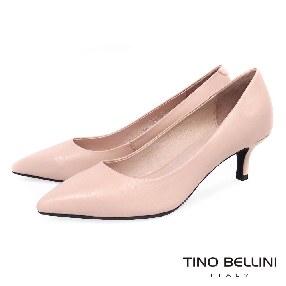 Tino Bellini 粉嫩春色全真皮跟鞋_粉