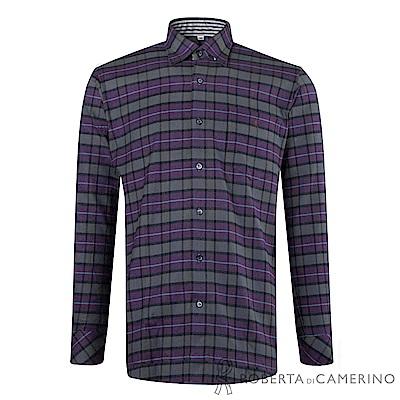 ROBERTA諾貝達 台灣製 禦寒保暖 純棉拼色格紋長袖厚襯衫 灰紫