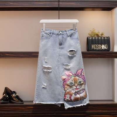 俏皮貓米亮片印花貼布刷破牛仔半身裙-M~4XL-KVOLL