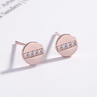 梨花HaNA 韓國925銀針超迷你圓式鑽鑽圖釘耳環