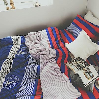 絲薇諾 帆船 加大四件式-法蘭絨 鋪棉加厚床包被套組