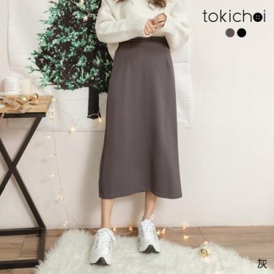 東京著衣 恣意休閒後鬆緊坑條針織直筒中長裙