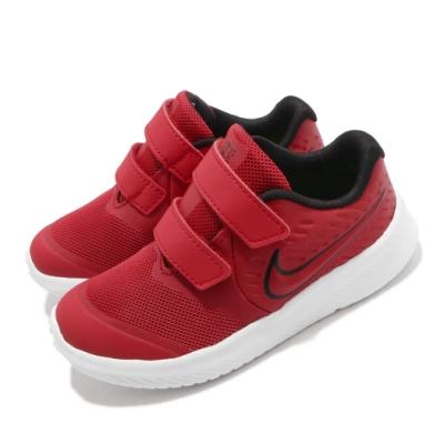 Nike 慢跑鞋 Star Runner 2 運動 童鞋 輕量 透氣 舒適 避震 魔鬼氈 小童 紅 黑 AT1803600