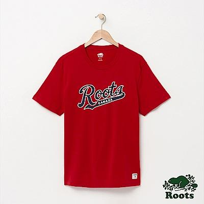 Roots 男裝-字標短袖T恤-紅色