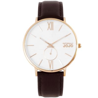 NATURALLY JOJO 質感木紋真皮手錶-白X咖啡/42mm