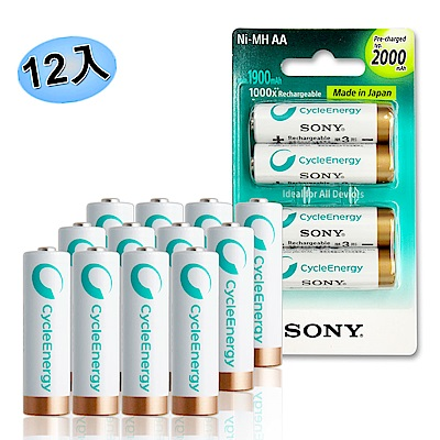SONY CycleEnergy 新型 2000mAh 低自放3號充電電池(12顆入)