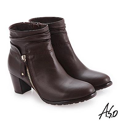 A.S.O 簡約風格 精緻質感真皮短靴 咖啡