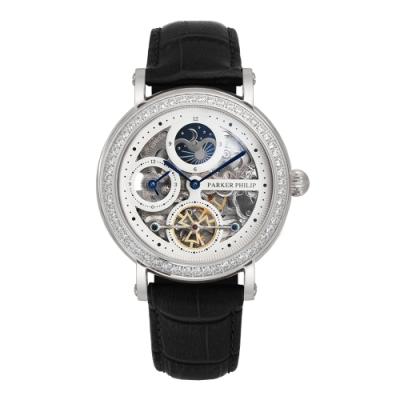 PARKER PHILIP派克菲利浦晶鑽雙發條盒日月相機械腕錶(銀殻/白面/黑帶)