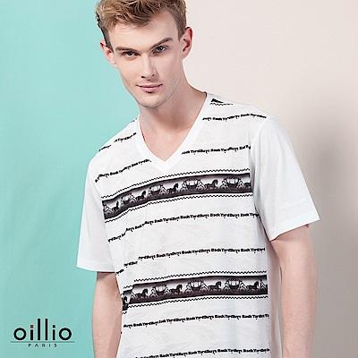 歐洲貴族oillio 短袖T恤 V領款式 馬車文字圖 白色