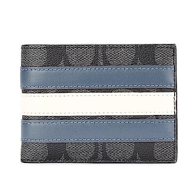 COACH-經典滿版LOGO PVC皮革藍白條紋八卡窄版短夾-黑灰