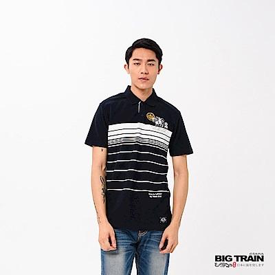 BIG TRAIN 加大福犬印條POLO衫-男-深藍