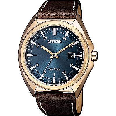 CITIZEN星辰 光動能紳士手錶(AW1573-11L)-藍x咖啡/41mm