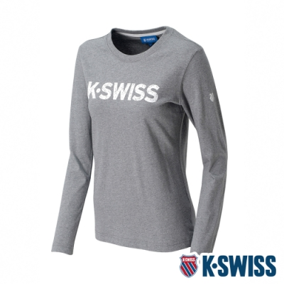 K-SWISS Cotton Logo Tee 2印花長袖T恤-女-淺灰