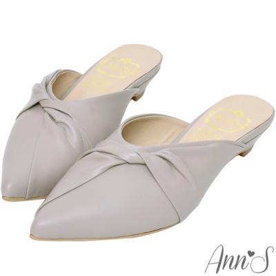 Ann'S典雅氣質-蝴蝶結小羊皮低跟尖頭穆勒鞋-灰(版型偏小)