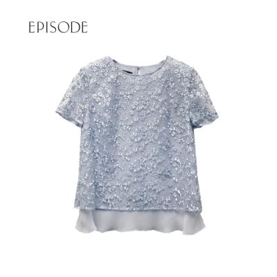 EPISODE - 藍色層疊雪紡衣擺重磅刺繡蕾絲短袖上衣