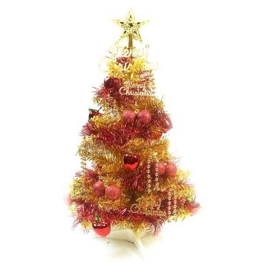 摩達客 繽紛2呎(60cm)金色金箔聖誕樹+裝飾組(紅蘋果純金色系/不含燈)