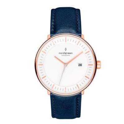 Nordgreen Philosopher 北歐藍真皮錶帶腕錶-40mm(PH40RGLENAXX)