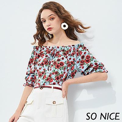 SO NICE亮麗玫瑰印花造型袖上衣