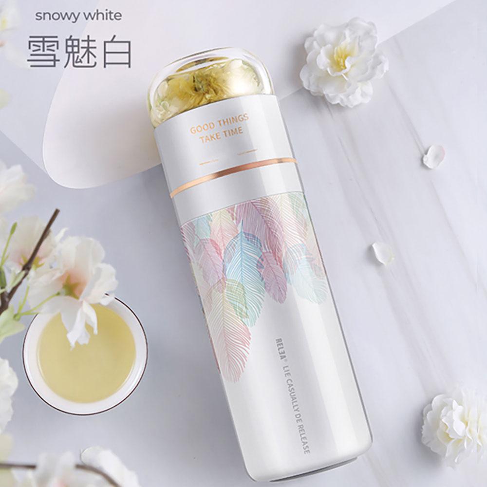 [買大送小]RELEA物生物翻轉分離泡茶316不鏽鋼保溫瓶400ml 送翻轉泡茶隨行杯300ML