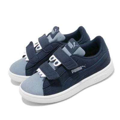 Puma 休閒鞋 Smash v2 運動 童鞋 基本款 魔鬼氈 怪獸圖案 穿搭 中童 藍 白 36968003