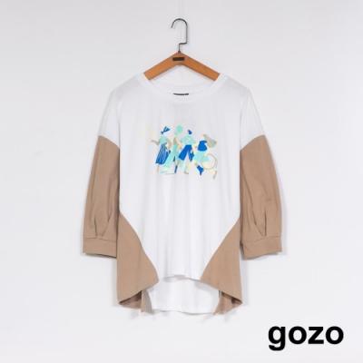 gozo 拼色趣味印花圓領T(二色)