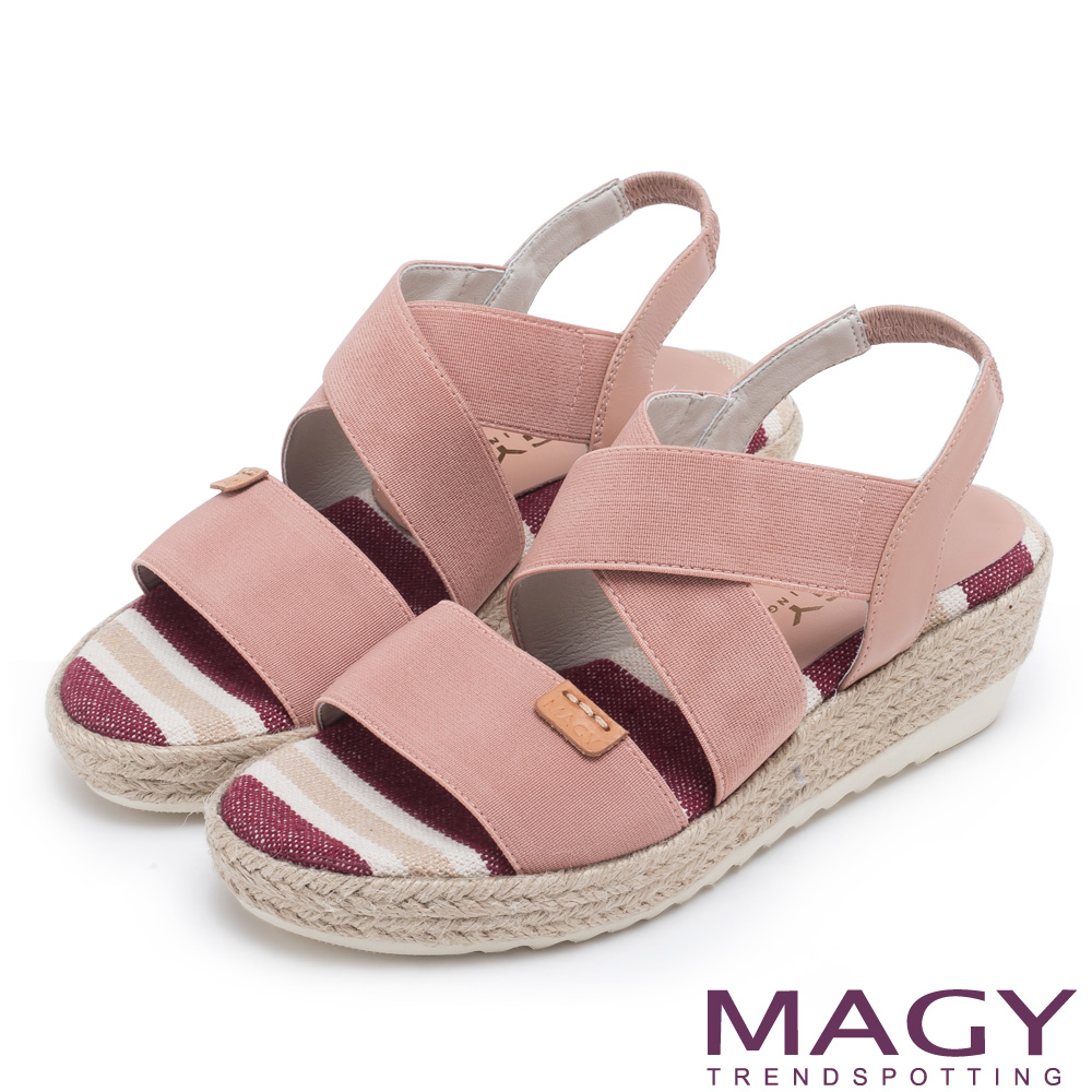 MAGY 夏日時尚舒適 鬆緊帶牛皮編楔型涼鞋-粉紅