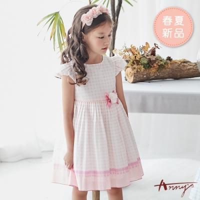 Annys安妮公主-白玉波點花朵蝴蝶結春夏款公主袖洋裝*9122粉紅