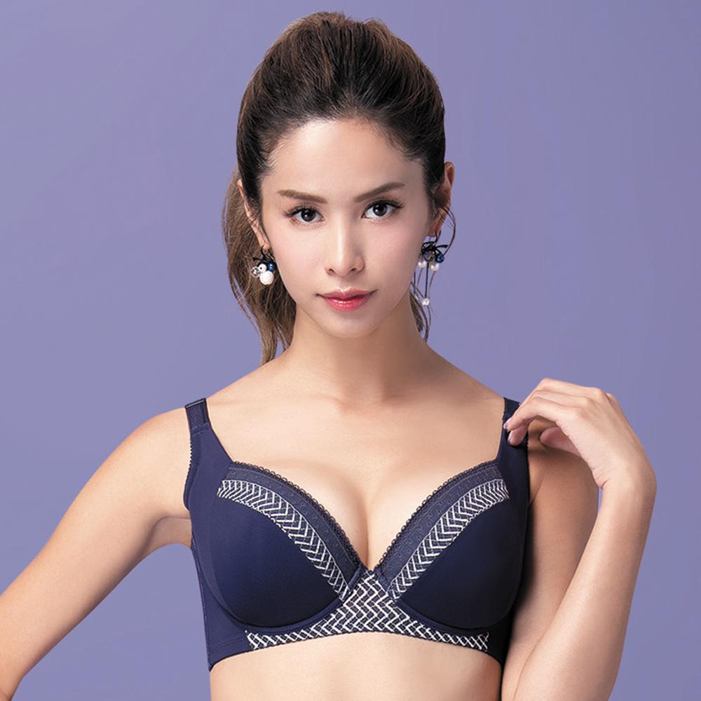 莎薇-大波美人E-F 罩杯全罩式內衣(藍)大尺碼大罩杯-包覆-防副乳